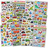 HORIECHALY Transportation Stickers for Kids 12 Sheets with Cars, Airplane, Train, Motorbike, Ambulance, Police Car, Fire Truc