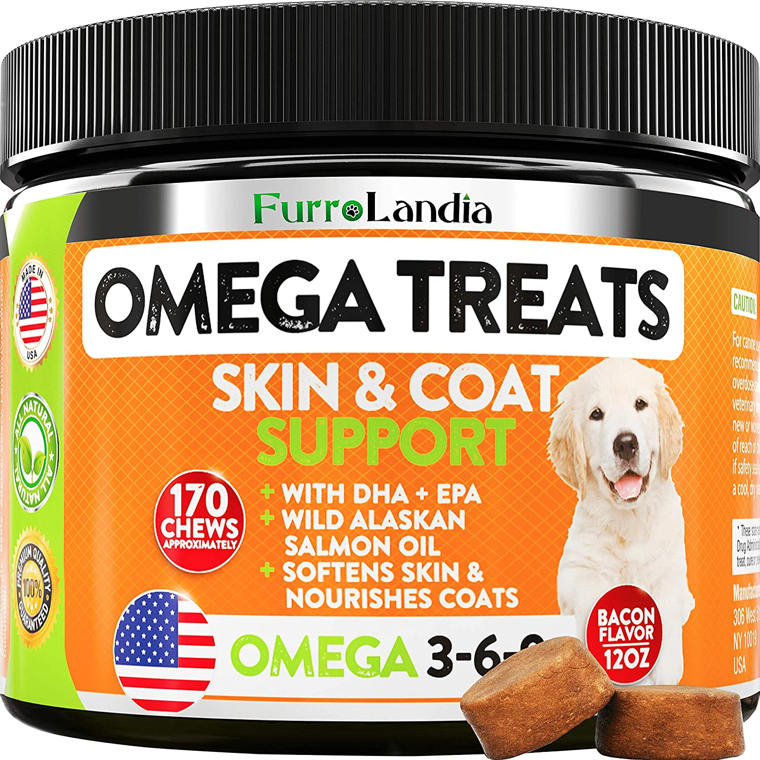 FurroLandia Omega 3 for Dogs - Allergy & Itch Relief Dog Shedding - Wild Alaskan Salmon Oil with Omega 3 6 9 for Dogs - EPA & DHA Fatty Acids