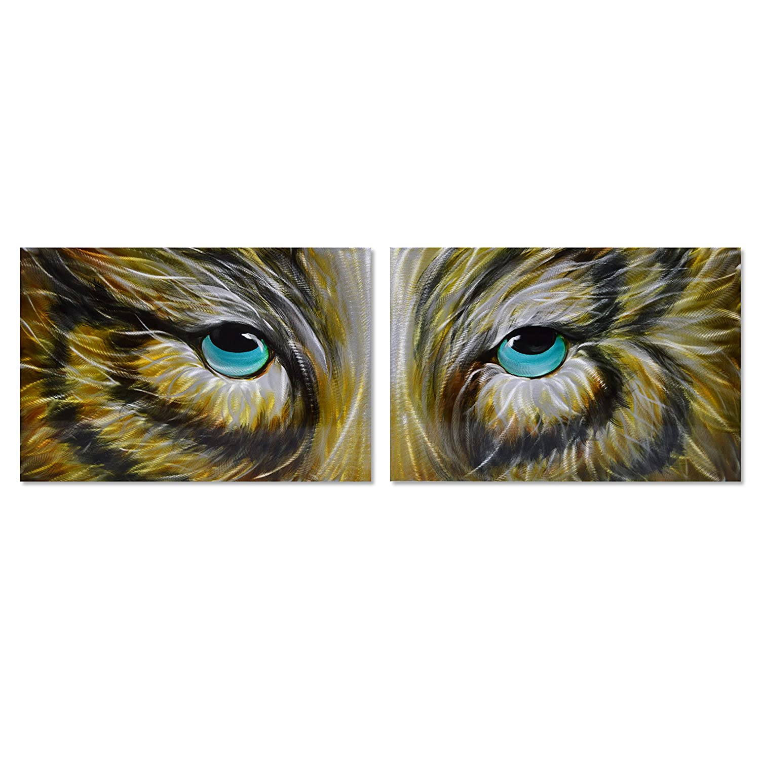 Amazon com silver fox modern wall art metal decor in 2 panels of 16 x 49 animal wall sculpture is the perfect decoration for living room or kitchen