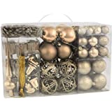 Brubaker Set di 101 Accessori Decorativi per L'Albero di Natale - addobbi Natalizie in Color Champagne - Diverse Forme di Palline ed Un Puntale per Albero di Natale
