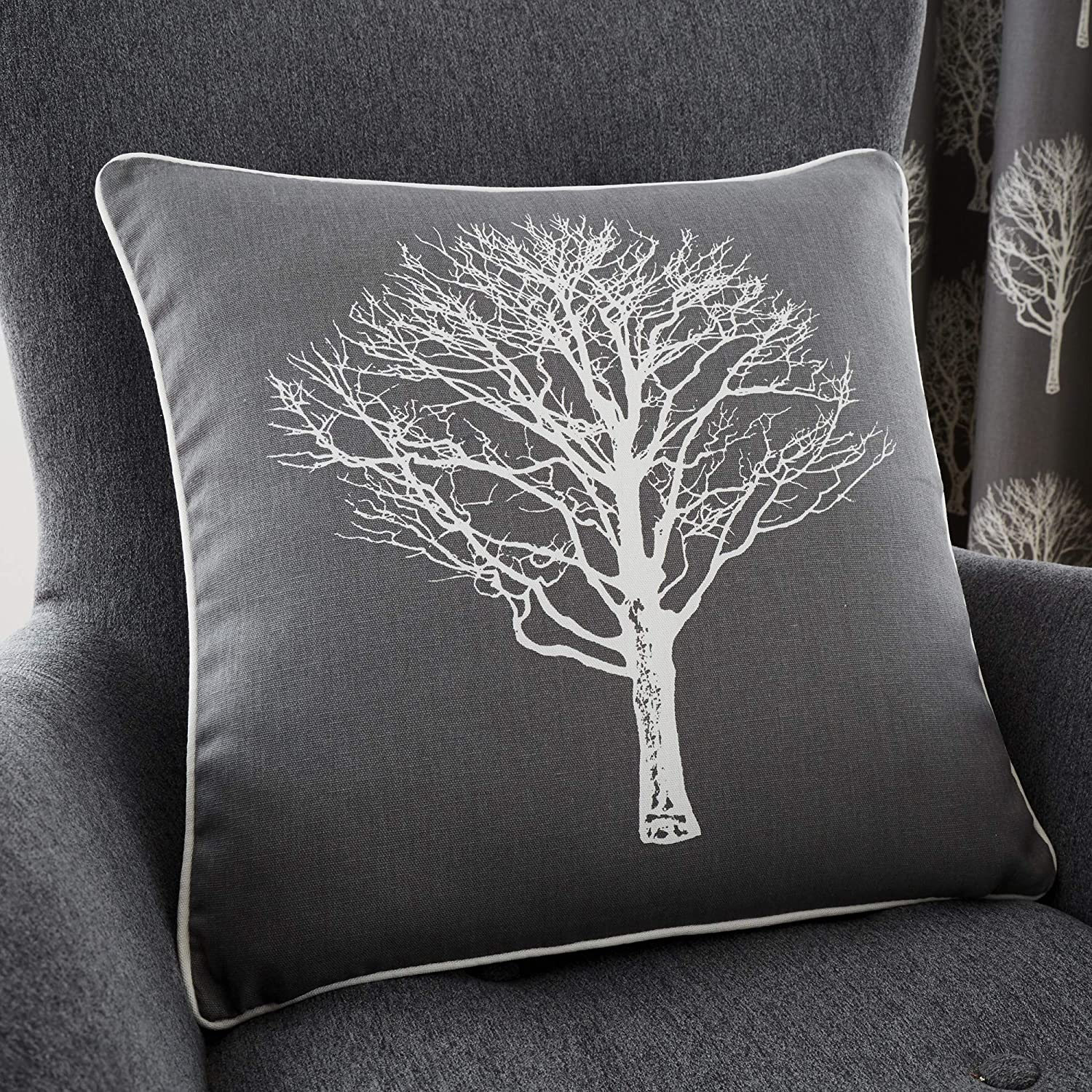 Fusion - Woodland Trees - 100% Cotton Filled Cushion - 43x43 cm in Charcoal Grey