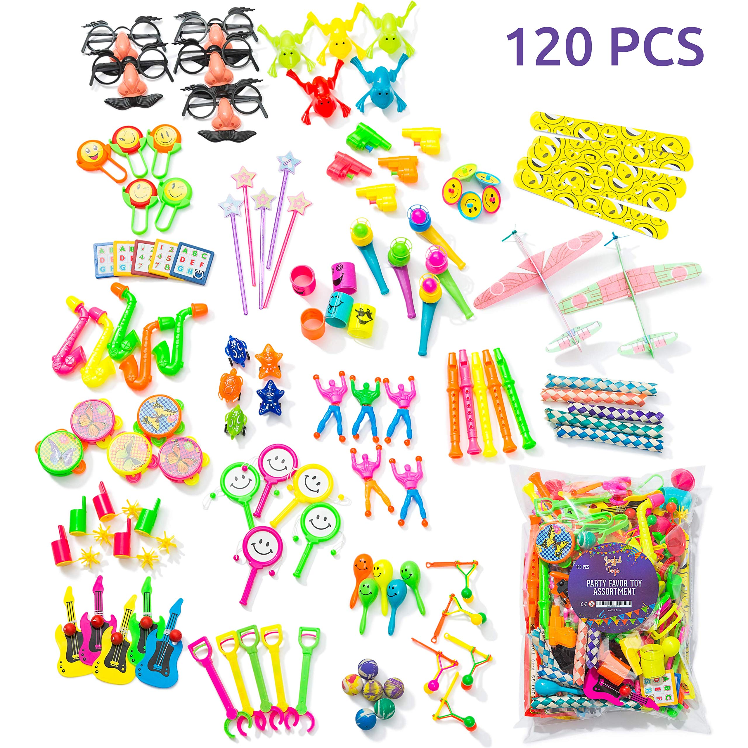 Party Favors For Kids Pack of 120 Pcs - Bulk Toys, Birthday Party, Goodie Bag, Piñata Filler, Treasure Box, Reading Prizes