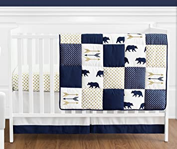 Amazon Com Navy Blue Gold And White Patchwork Big Bear Boy Baby Crib Bedding Set By Sweet Jojo Designs 4 Pieces