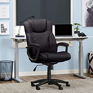 Serta Style Hannah II Office Chair, Bonded Leather, Black