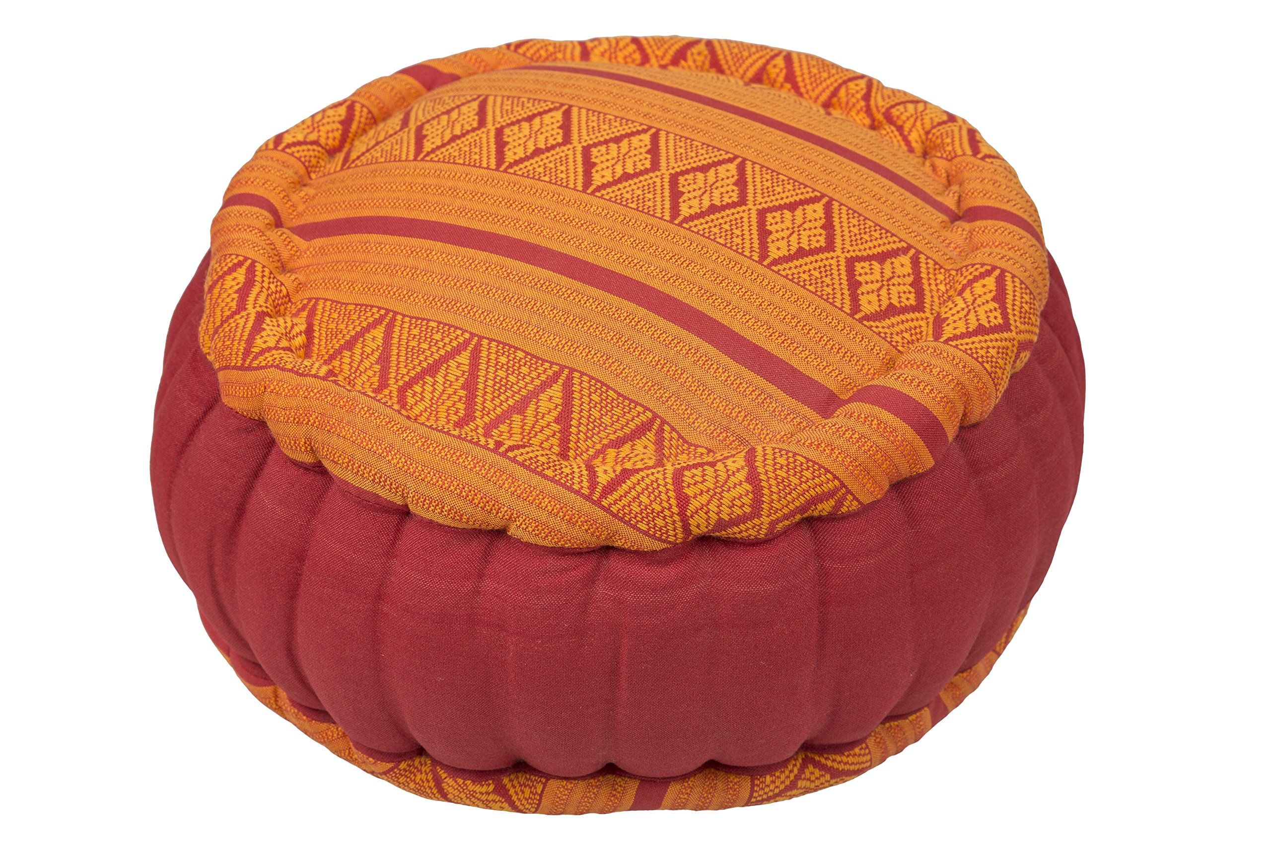Kapok Dreams ™ Zafu Round Meditation Cushion 100% Kapok, Thai Design Pillow Orange & Red