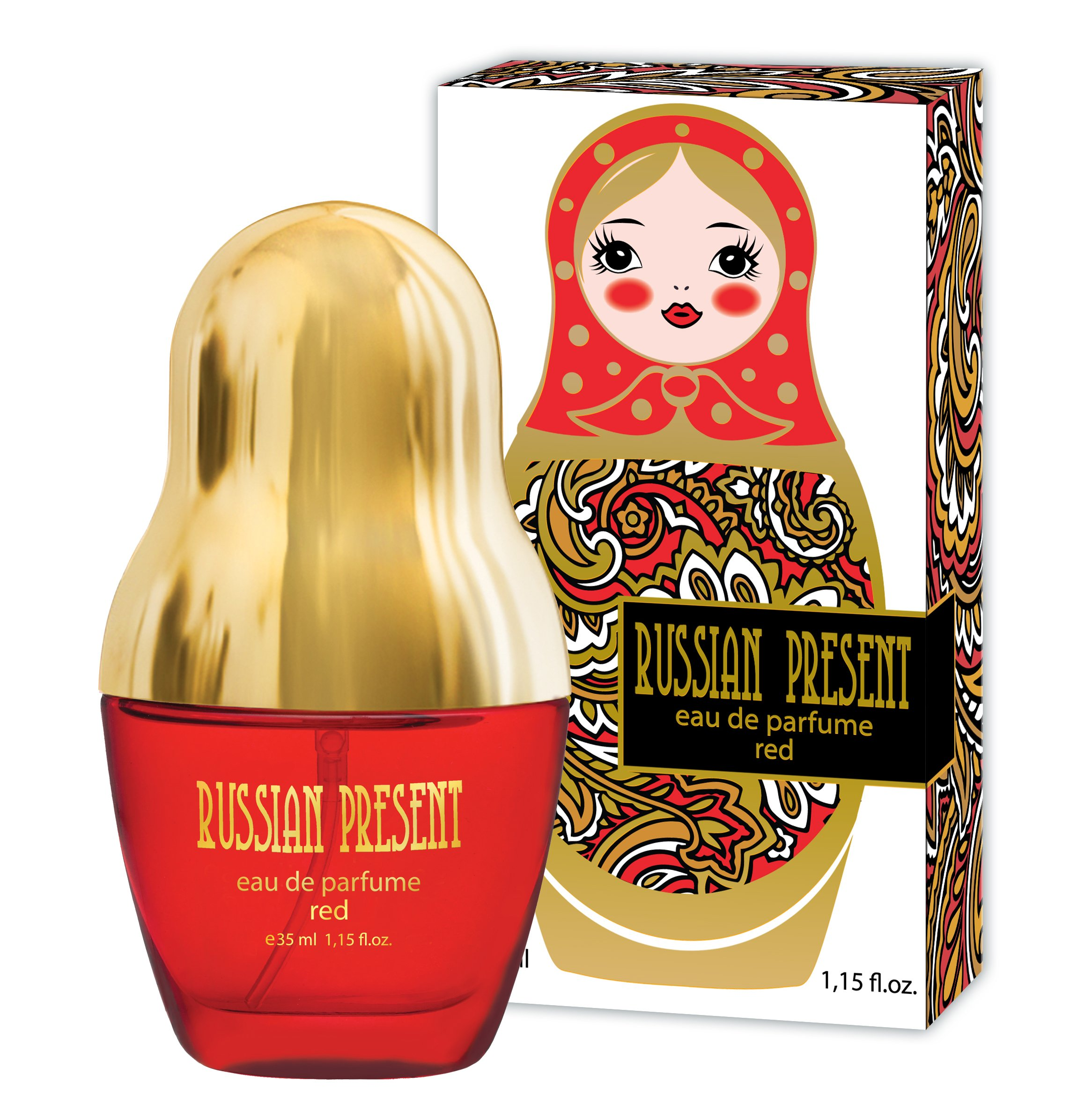 Russian Present Eau De Parfum Spray For Women Red 1 15 Oz Floral Fruity Scent Flat Shaped Bottle Best Gift For Her Jodyshop