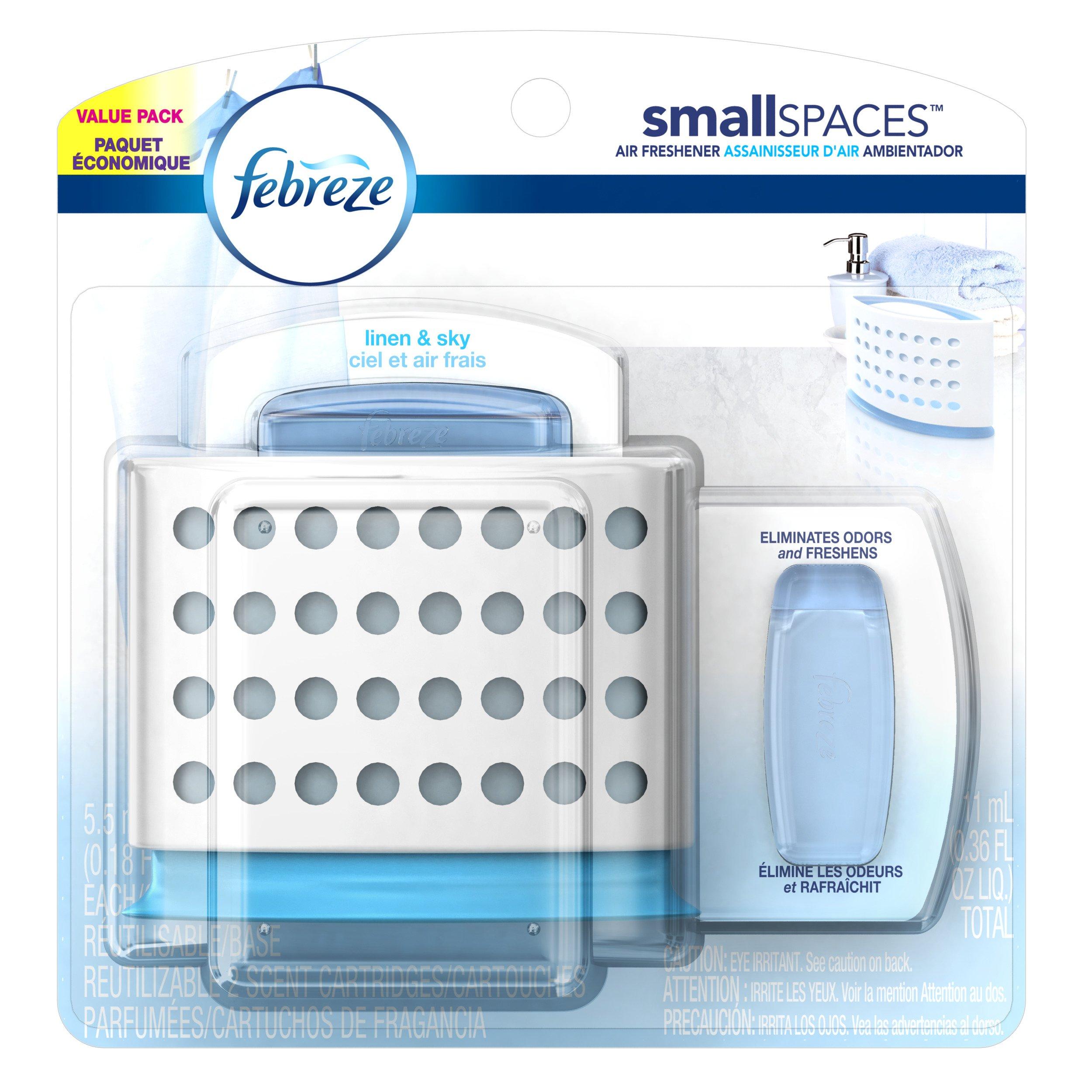 Febreze  Air Freshener, Small Spaces Air Freshener,  Starter Kit and Refills Value Pack, Linen/Sky Air Freshener, 0.36 Fluid Oz