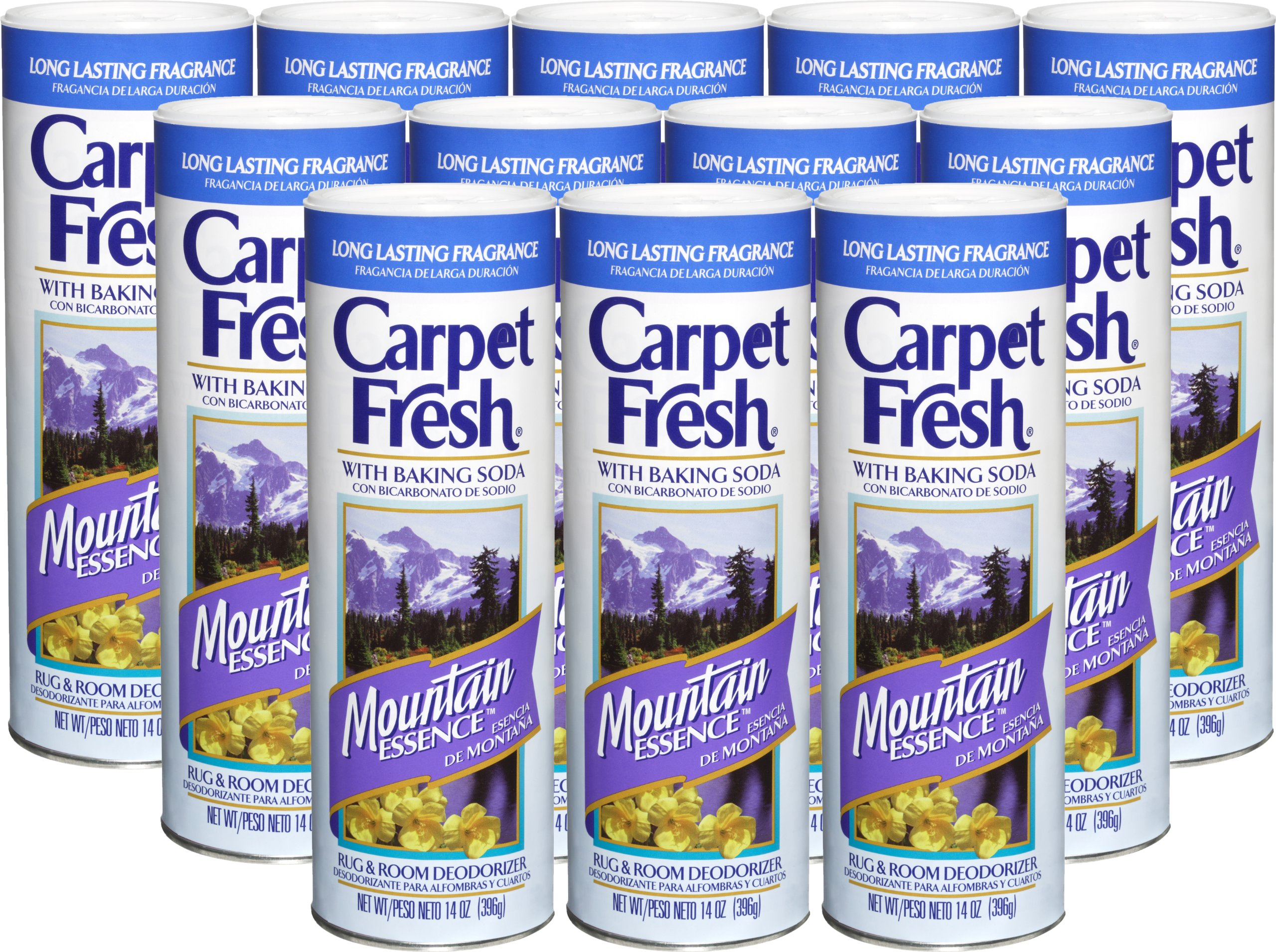 Carpet Fresh Rug and Room Deodorizer with Baking Soda, Mountain Essence Fragrance, 14 OZ [12-Pack]