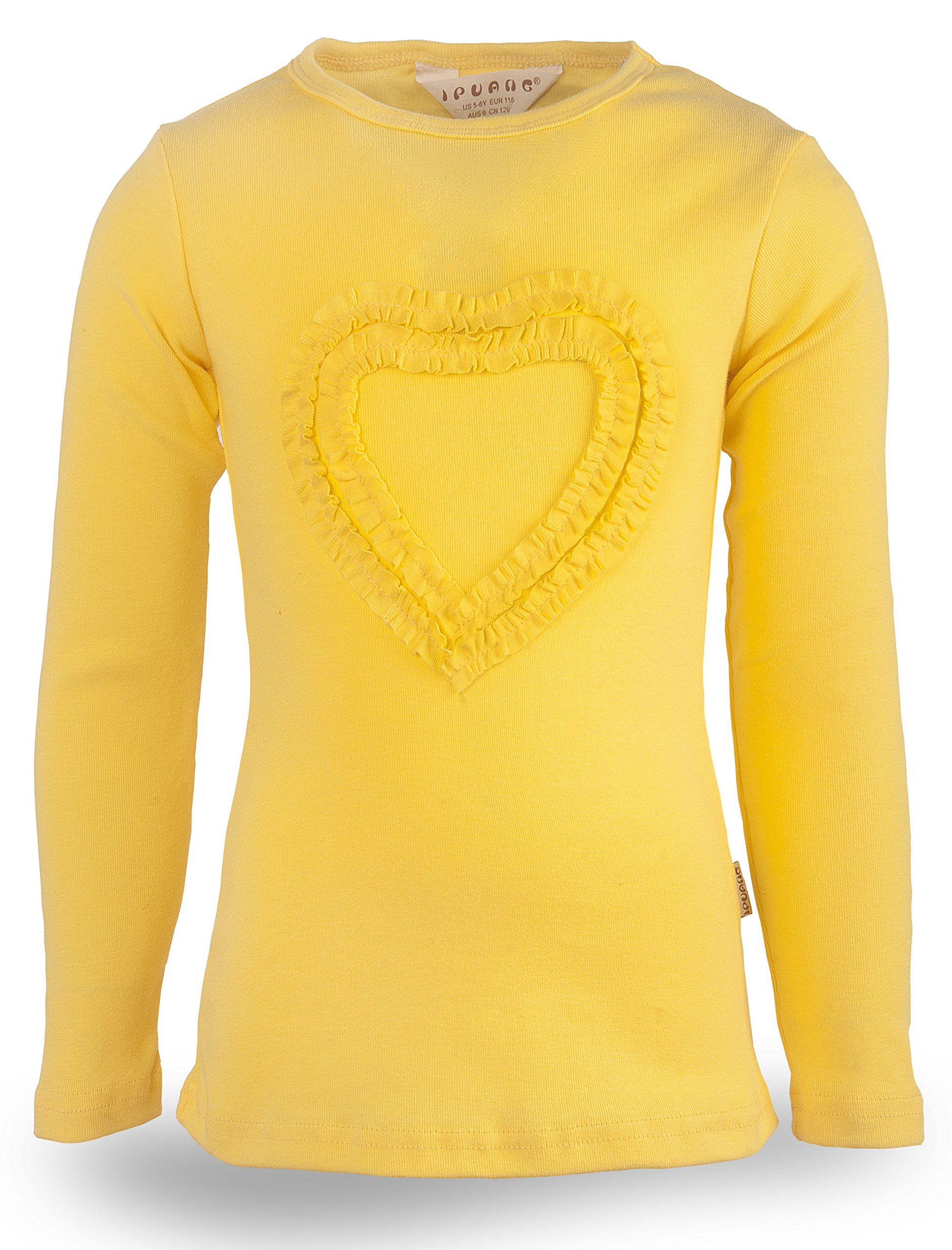 e89f0cfe Ipuang Little Girls' Heart-Shaped Long Sleeve T-Shirt 4 Yellow