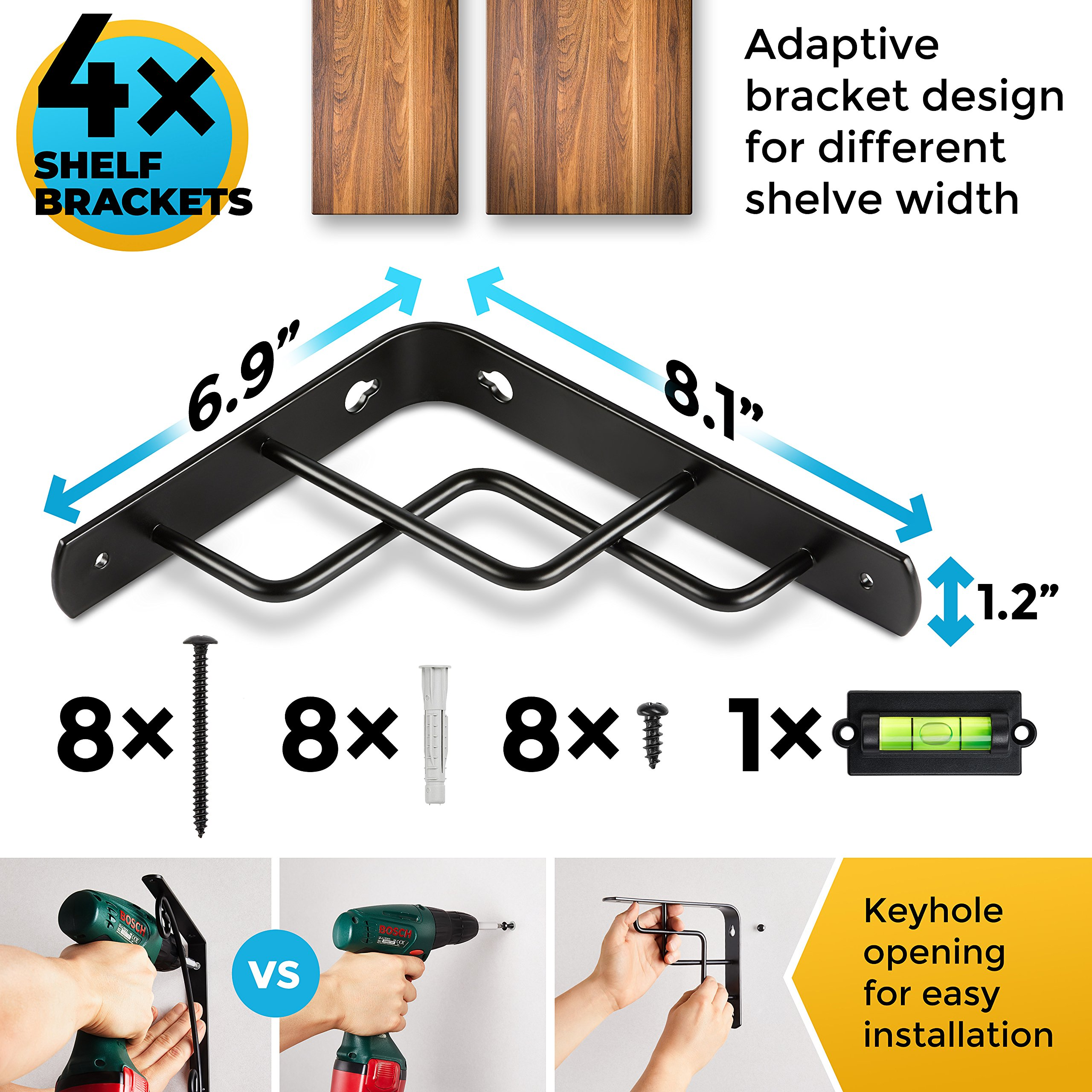 CHOOK – L Shape Shelf Brackets, Heavy Duty, Modern, Decorative | Fit 7 to 12 Inch Shelves | 4 Pack with Screws and Anchors | Semi Industrial Design | for Home or Workplace | Steel Metal black by Chook Creations (Image #3)