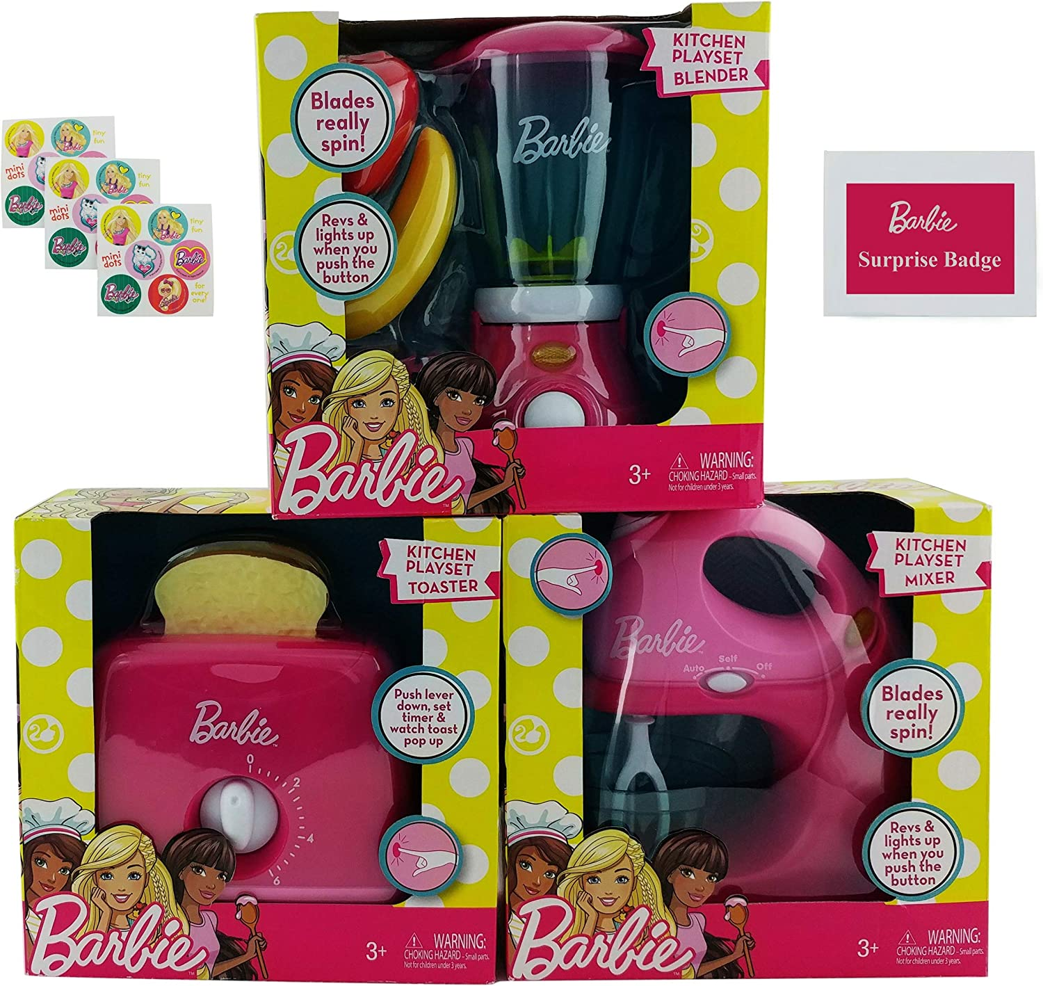 Kids Barbie Kitchen Playset Bundle – 5 Items   Barbie Blender, Mixer and Toaster Kitchen Appliance Pay Set with Barbie Stickers and Pin-Backed Button Badge