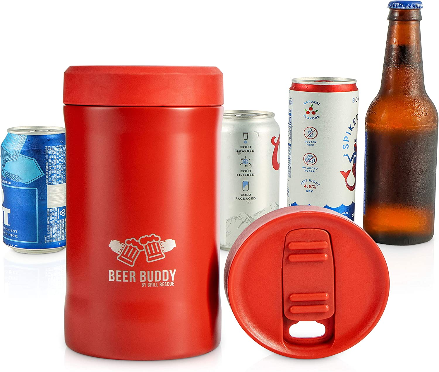 Beer Buddy Insulated Can Holder – Vacuum-Sealed Stainless Steel – Beer Bottle Insulator for Cold Beverages – Thermos Beer Cooler Suited for Any Size Drink - One Size Fits All