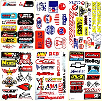 Motorsport cars hot rod nhra drag racing lot 6 vinyl decals stickers d6053