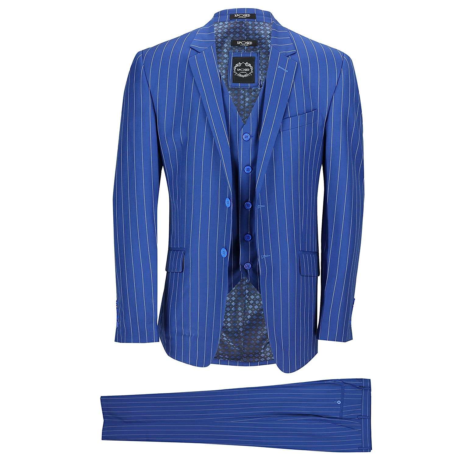 Xposed Mens 3 Piece Suit White Pinstripe On Royal Blue Tailored Fit Jacket With Twin Buttons Smart Casual Vintage Chest Uk 50 Eu 60 Trouser 44 At Amazon