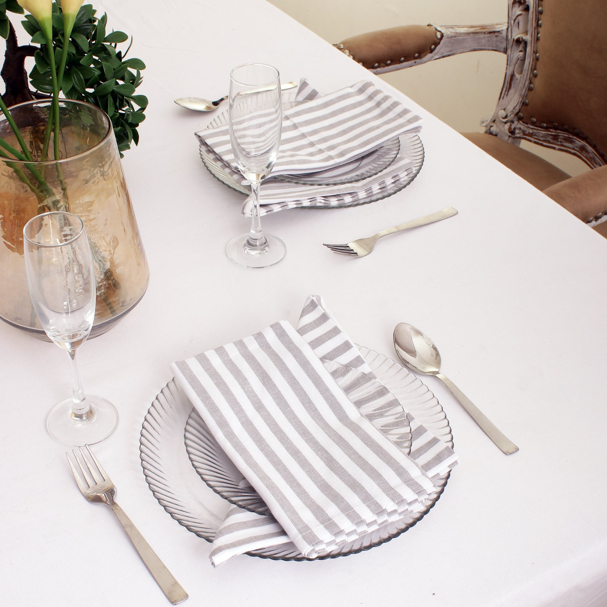 Cotton Dinner Napkins Grey & White Stripe, Set of 12 (20 x 20 Inches), Over Sized, Embroidery And Print, Lint Free, Quick Dry, Hemmed With Mitered Corners