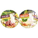 Instant Rice Noodles Vietnamese Style Ramen Pho Variety Pack | Pho Bo (Beef), and Pho Ga (Chicken) 6 Bowls