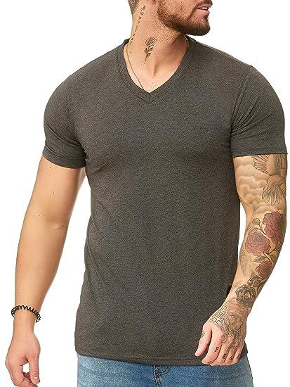 OneRedox Herren T Shirt V Neck Hoodie Longsleeve Kurzarm