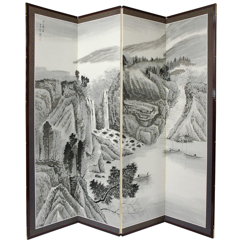 Oriental Möbel asiatischen Dekor und Geschenke, 72von 183cm Misty Mountain Chinese Bürste Art Boden Bildschirm Raumteiler