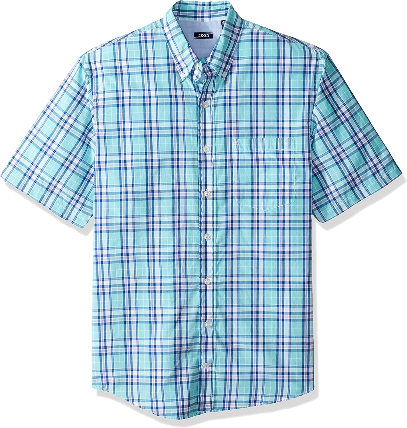 IZOD Mens Big and Tall Breeze Short Sleeve Button Down Plaid Shirt