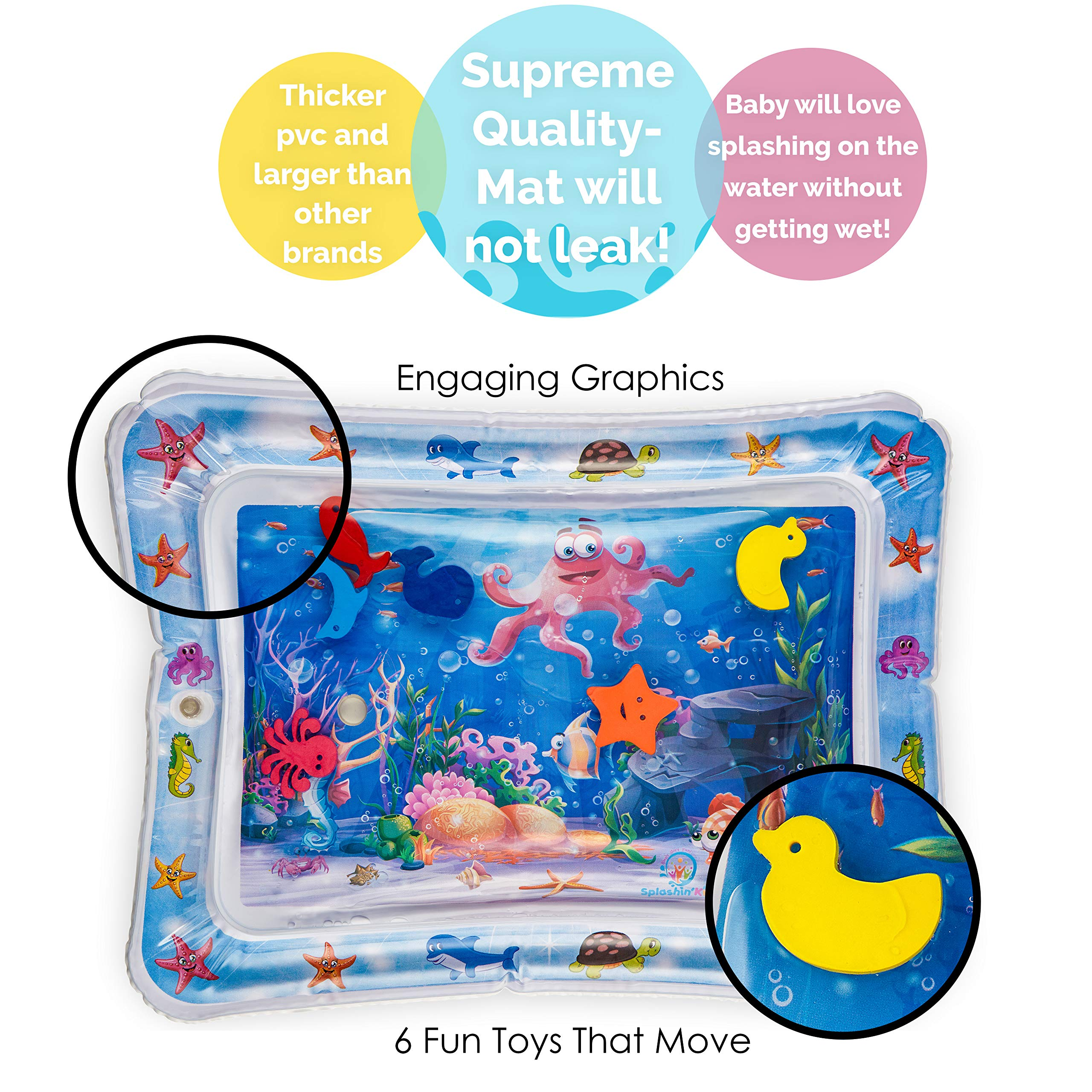 Splashin'kids Inflatable Tummy Time Premium Water mat for Infants & Toddlers is The Perfect Fun time Play Activity Center for Your Baby's Stimulation and Growth by Splashin'kids (Image #2)
