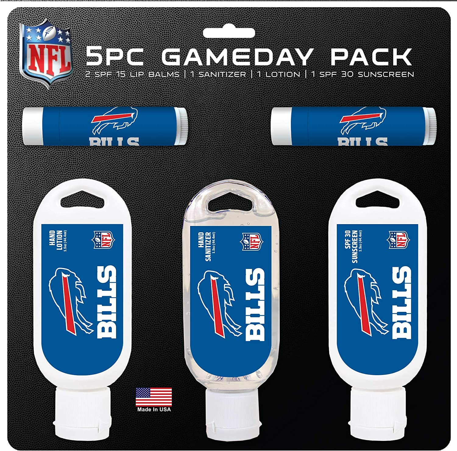 Amazon Com Nfl Buffalo Bills Game Day 5 Pack With 2 Lip Balms 1 Hand Lotion 1 Hand Sanitizer 1 Spf 30 Sport Sunscreen Clothing
