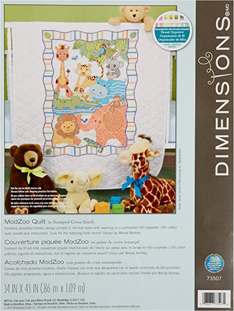 Cuddly animal stack cross stitched baby quilt finished