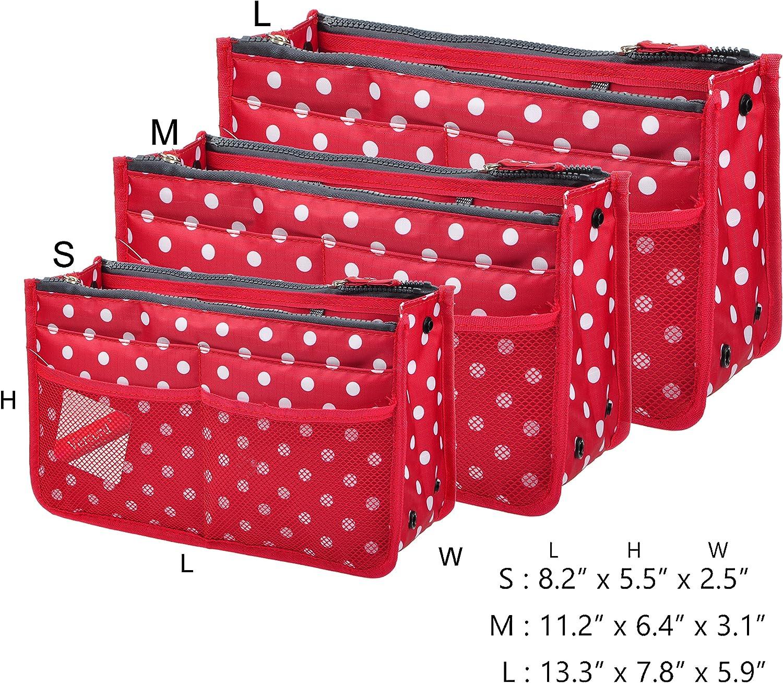 Vercord Updated Purse Handbag Organizer Insert Liner Bag in Bag 13 Pockets 3 Size Many Colors