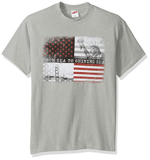 6499f506 Soffe Men's American Flag Graphic T-Shirt, Americana Collection, Shining  Sea, Small