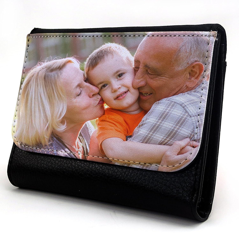 Lolapix - Cartera Mediana Personalizada con tu Foto, diseño o Texto, Original y Exclusivo. Simil Piel Color Negro: Amazon.es: Hogar