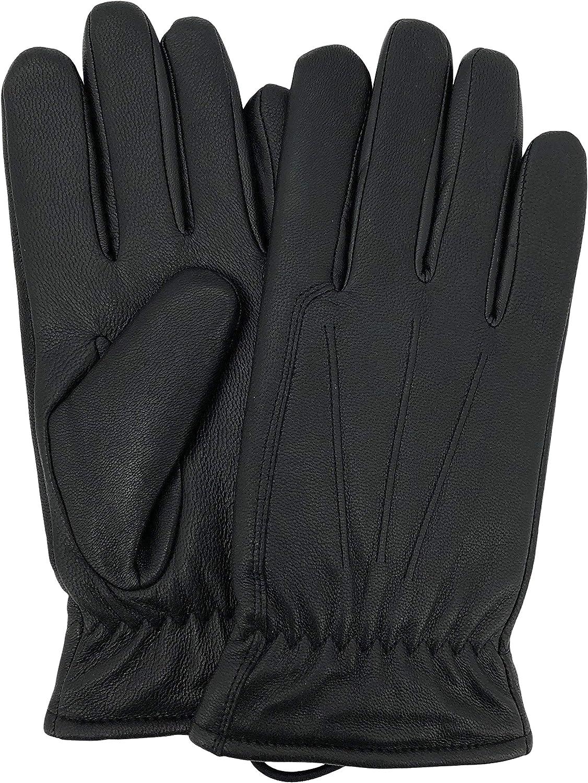 Isotoner Mens Gloves Berber Lining Medium Black Classic Style Genuine Leather
