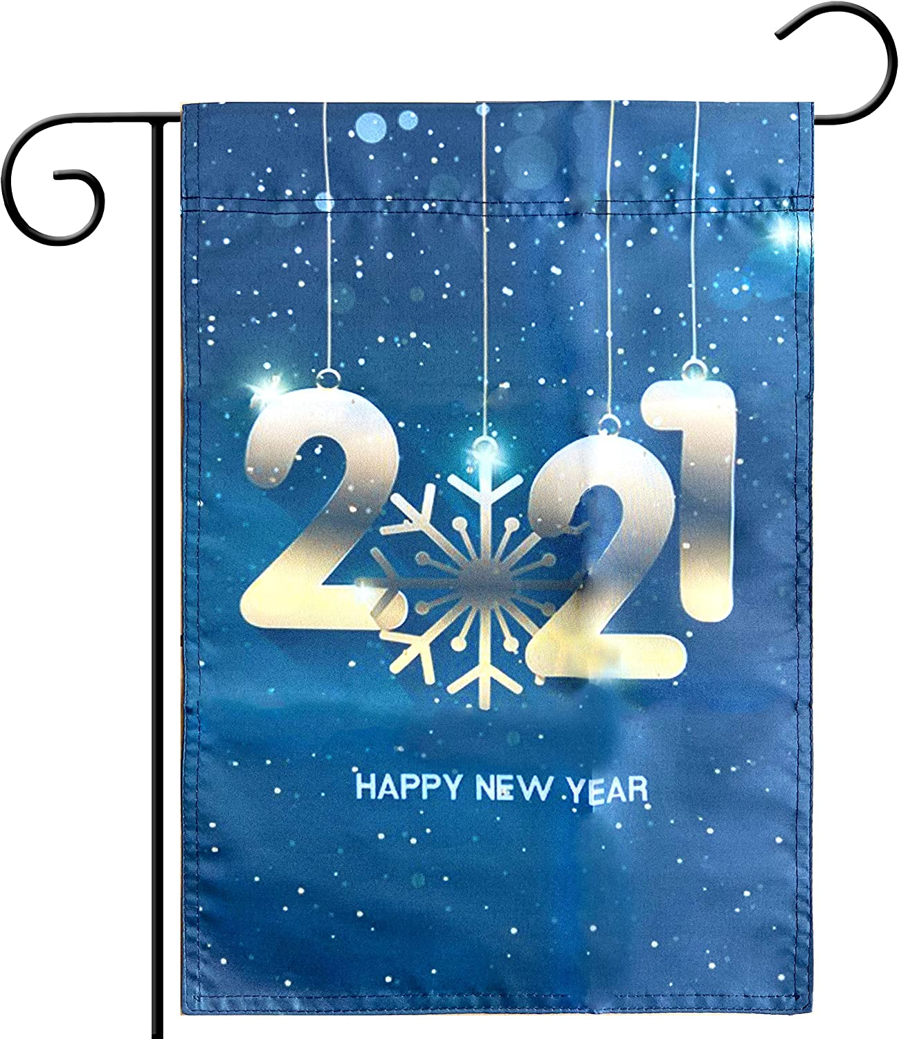 Kind Girl Winter Season Garden Flag Merry Christmas Flag Welcome Garden Flag,Happy New Year 2021 Snowflakes and Stars Flag Decorative House Double Sided Flag,Indoor and Outdoor Flags.