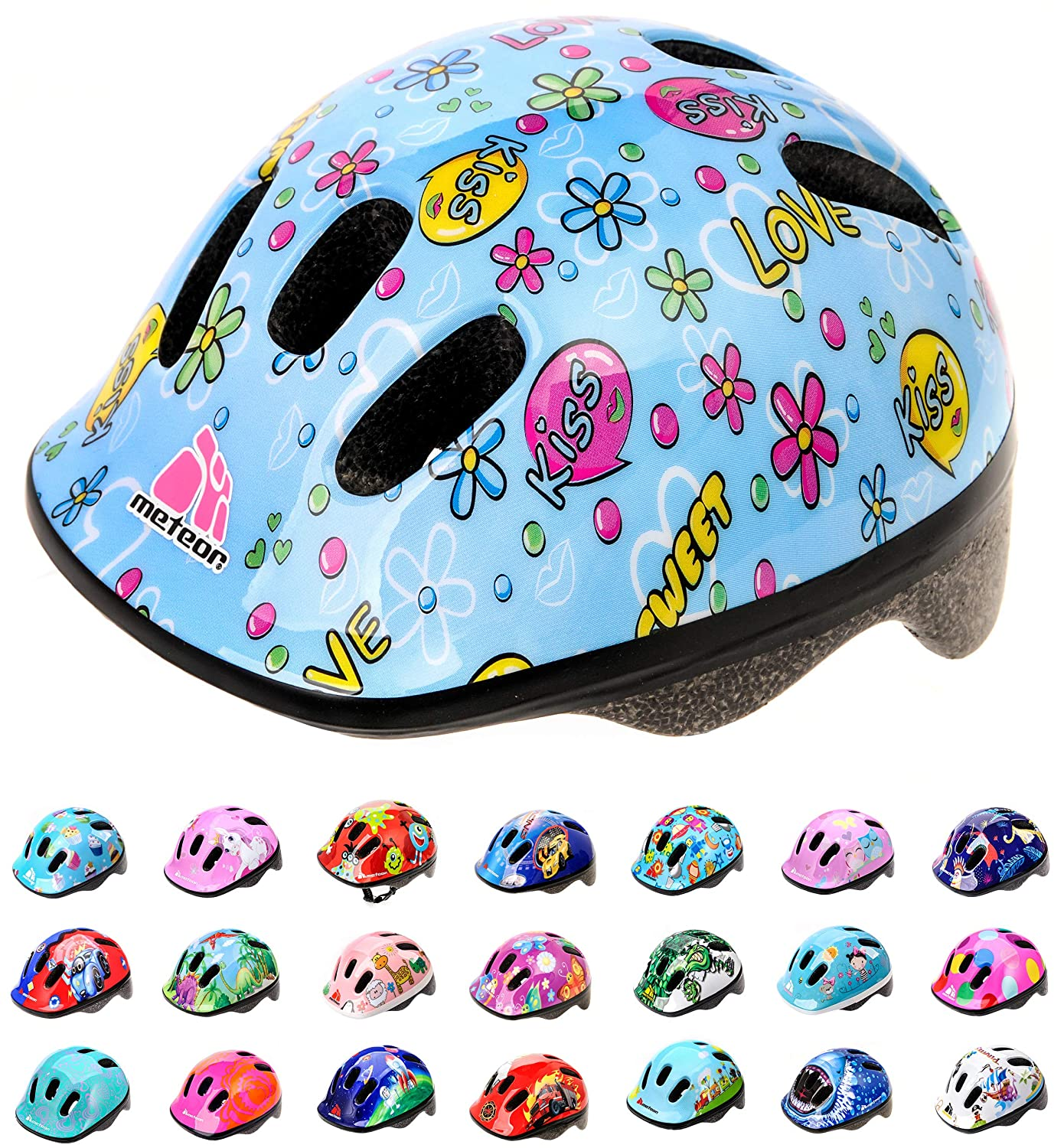 Meteor cycling helmet BMX bike cycling; for hoverboard MV6-2 kids and youth helmets: Cycling helmet for cyclists Designed for the safety of the youngest users: The helmet has an infinitely adjustable head strap. inline skate scooter