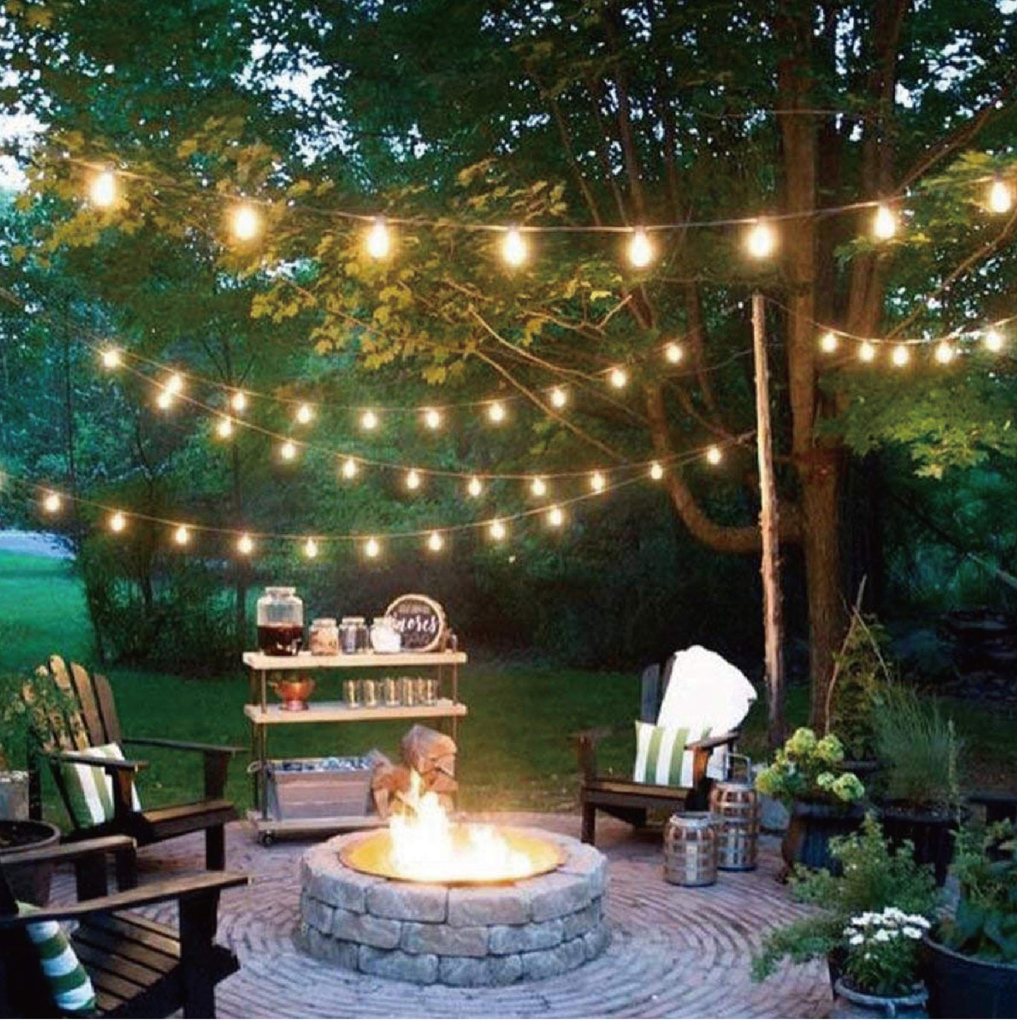 KMC 50 FT Waterproof Outdoor String Lights, 16/3 Heavy Duty Power Cord with 15 x E26 Sockets and Hanging Loops, 18 x 11 Watt S14 Dimmable Incandescent Bulbs Included (3 Spares), Perfect Patio Lights by KMC (Image #6)