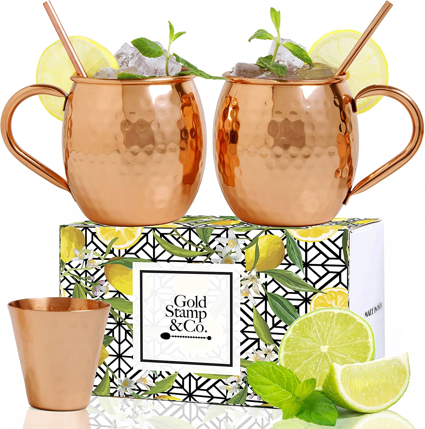 Gold Stamp & Co Quality Moscow Mule Mugs Set: 2 Hammered 100% PURE Copper 16 Oz Cups plus 2 Copper Straws and 1 Shot Glass, Exceptional Craftsmanship