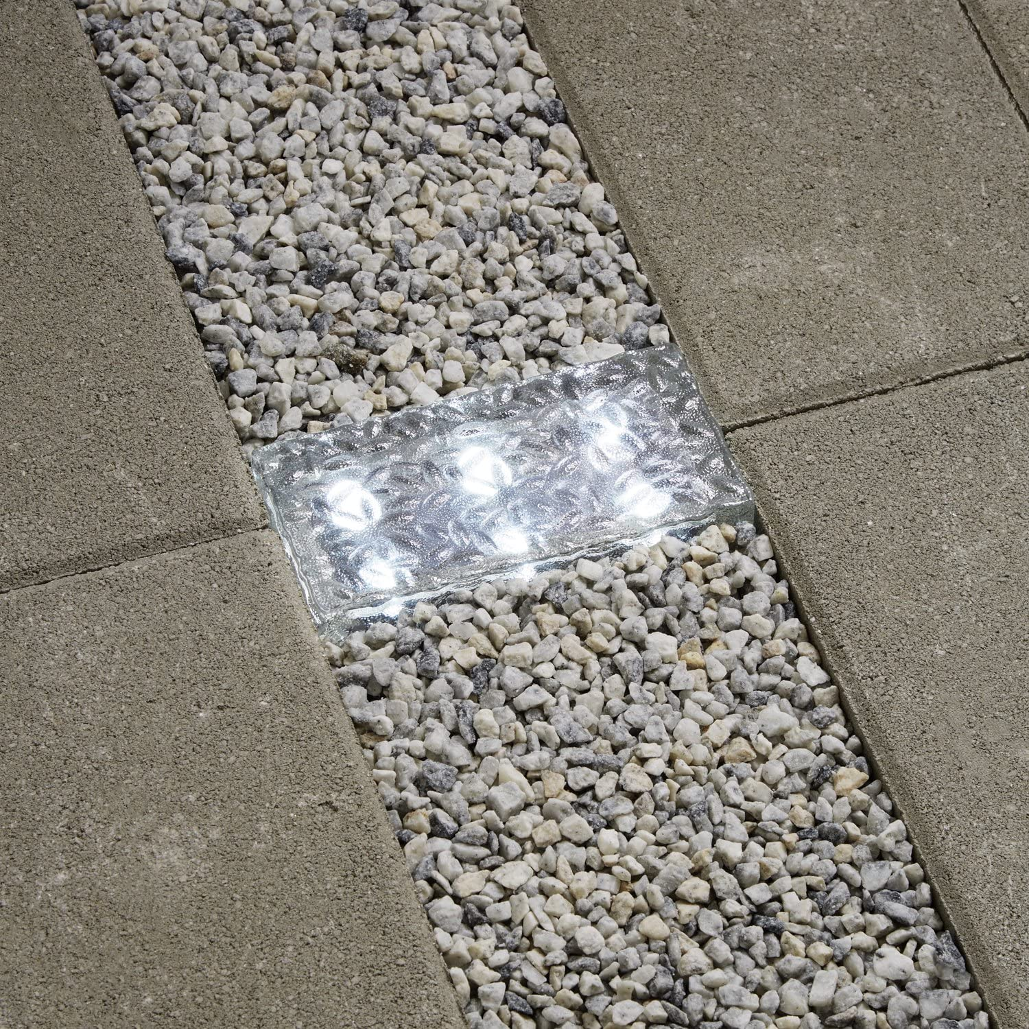 8x4 Solar Brick Landscape Light 6 Cool White Leds Textured Glass Rectangle Paver Waterproof Outdoor Use No Wires Easy To Install Rechargeable Battery Included Home Improvement