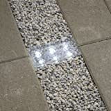 "8"" Cool White Solar Brick with 6 LEDs, Frosted Glass, Rectangular Shape, Rechargeable Battery Included"