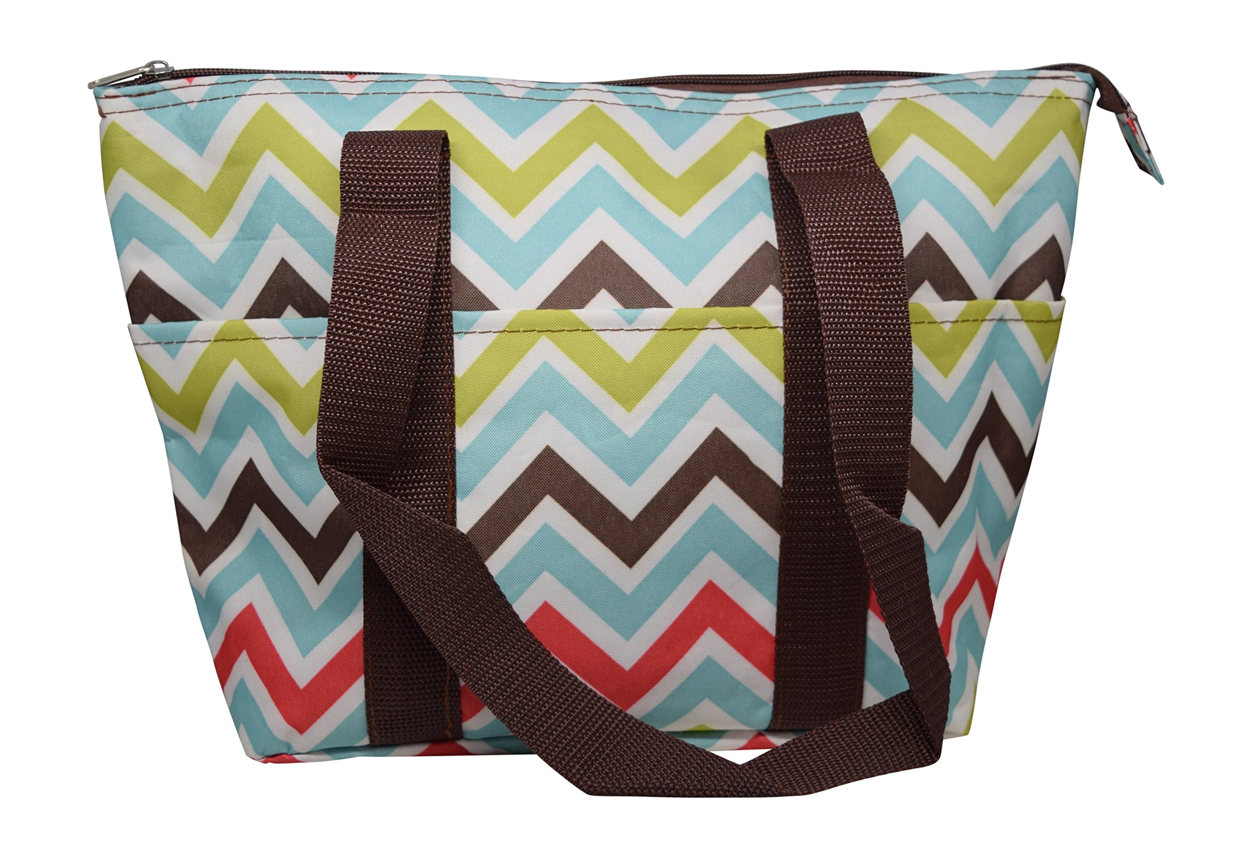 Large Reusable Zippered Top Insulated Lunch Bag (Multicolor Chevron)