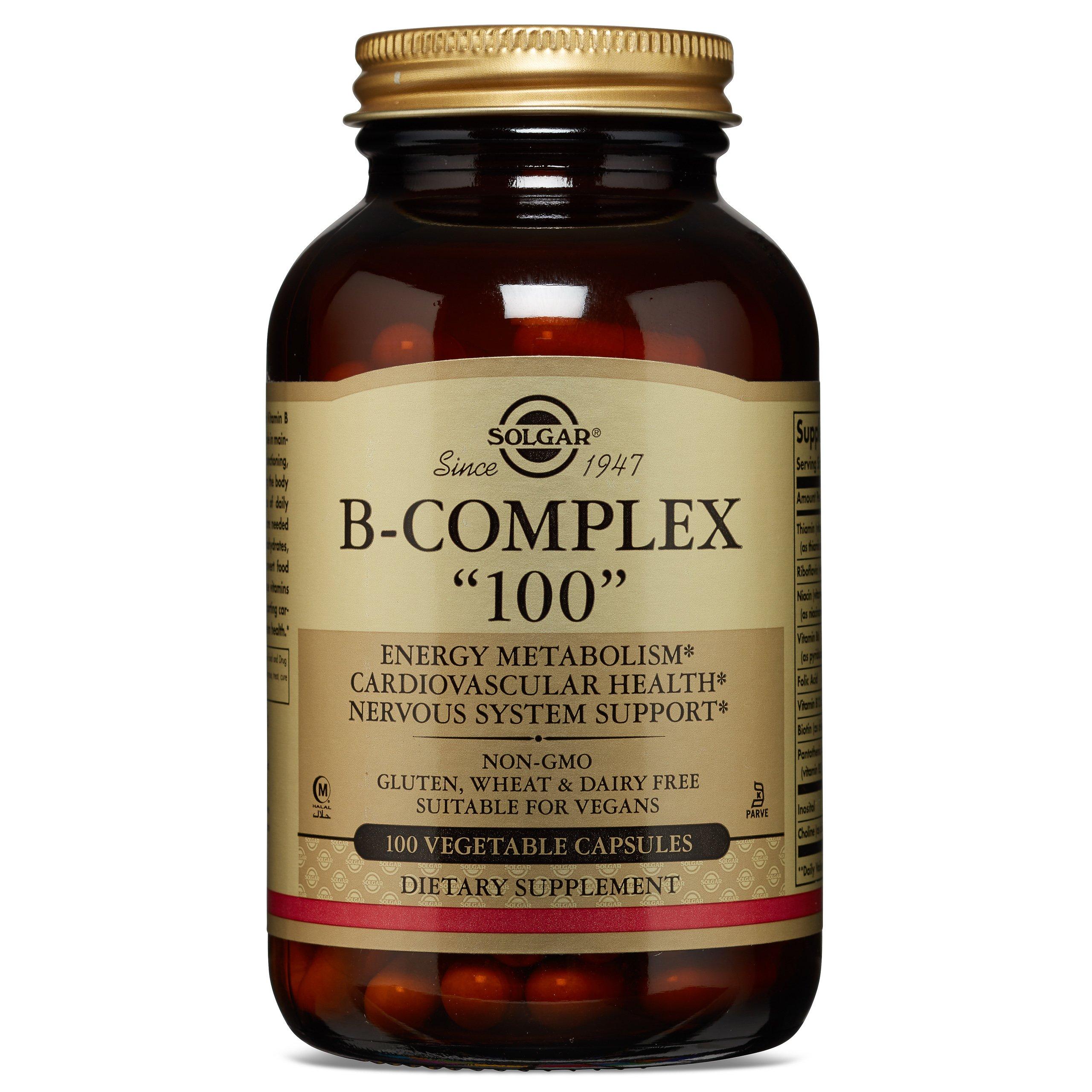 "Solgar – B-Complex ""100"" Vegetable Capsules, 100 Count – Promotes Energy Metabolism"