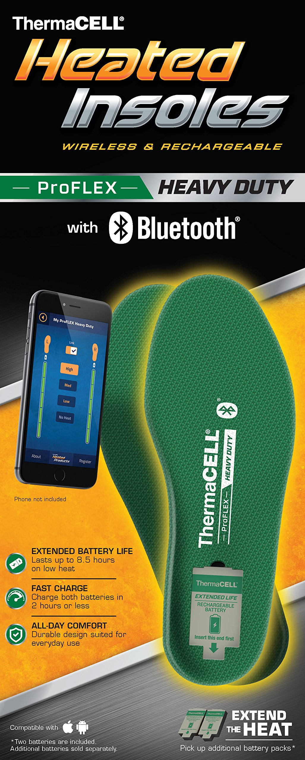 ThermaCELL Proflex Heavy Duty Heated Shoe Insoles with Bluetooth Compatibility, XL by Thermacell (Image #3)