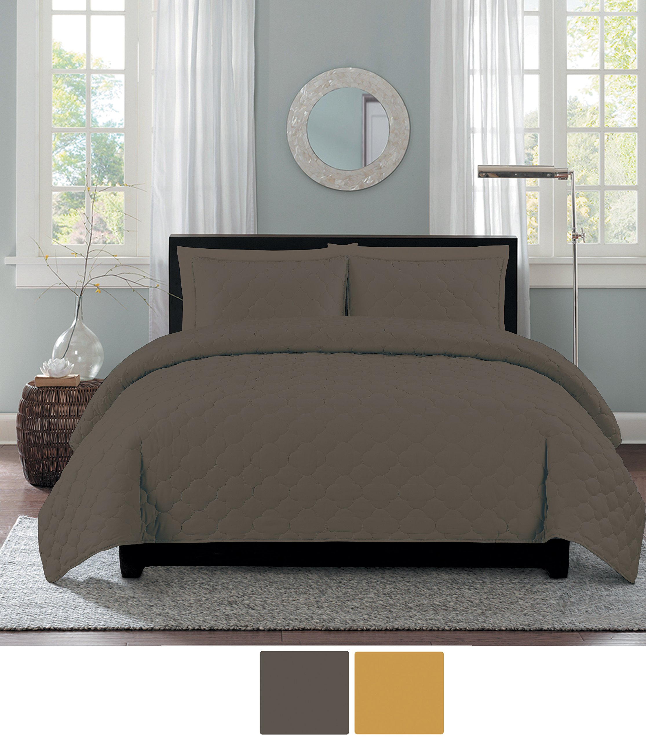 NC Home Fashions Catalina quilt set, Full/Queen, Charocal Gray
