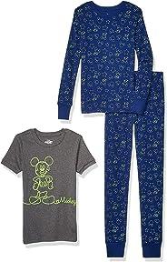 Amazon Brand - Spotted Zebra by Disney - Boys' Toddler & Kids Mickey Mouse 3-Piece Snug-fit Cotton Pajama Set