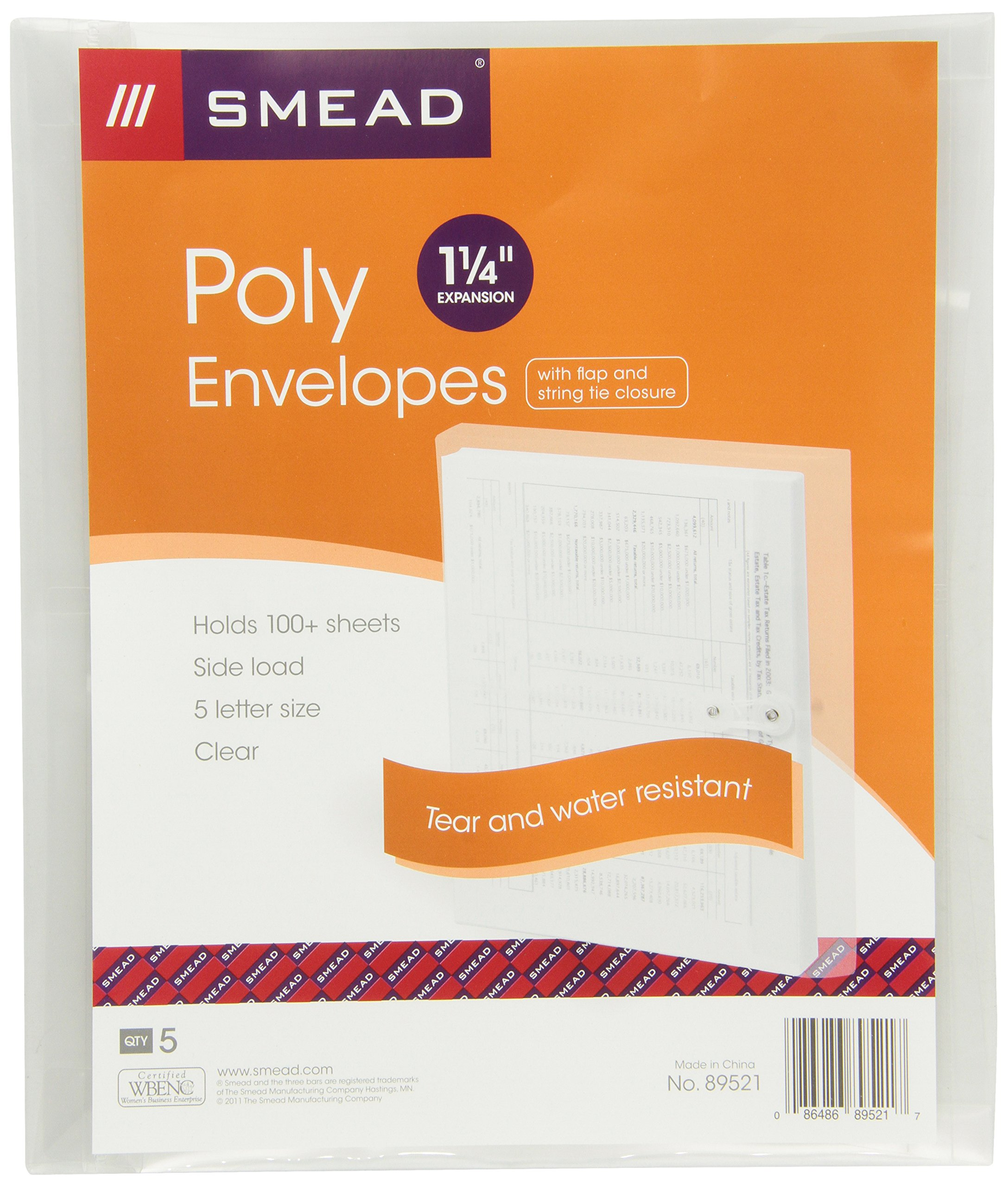 Smead Poly Envelope, 1 1/4 Inch Expansion, String-Tie Closure, Side Load, Letter Size, Clear, 5 per Pack (89521)