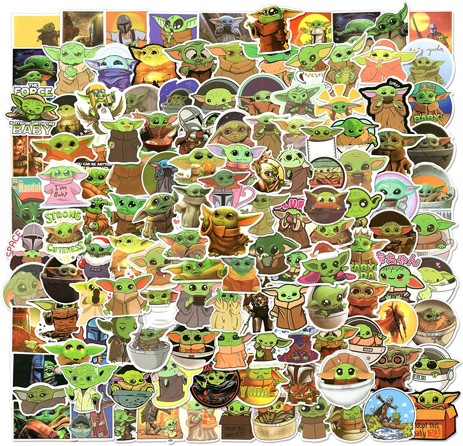 222pcs Baby Yoda Stickers, Mandalorian Star Wars Decals for Laptop, Vinyl Waterproof Stickers for Water Bottle, Cool Cute Cartoon Stickers for Kids, Teens, Adults