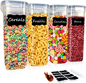 DS HappyLiving Large Cereal Storage Container Set of 4 | 132oz Bpa-free Airtight Container Cereal | Large Cereal Holder Cereal Container Cheerios Container With Pen & Labels & Scoop