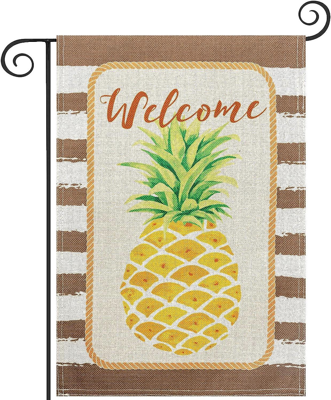 Watercolor Stripes Pinapple Garden Flag, hogardeck Premium Burlap Welcome Yard Flag, Vertical Double Sided Tropical Fruit Summer Spring Decor, Outdoor Indoor Front Porch Decor, 12.5 x 18 inch