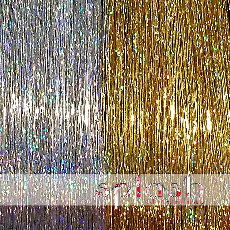 200 Strands Three Amazing Colors 40 (102 cm) Hair Tinsel: Sparkling Silver, Sparkling Gold La Demoiselle