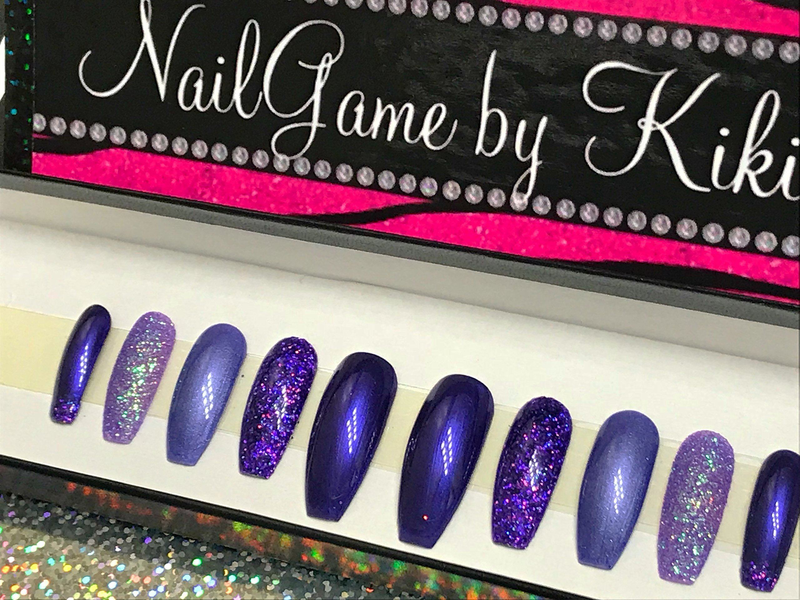 Dem Purple Coffin Nails Tho Hand Designed Press On Nails