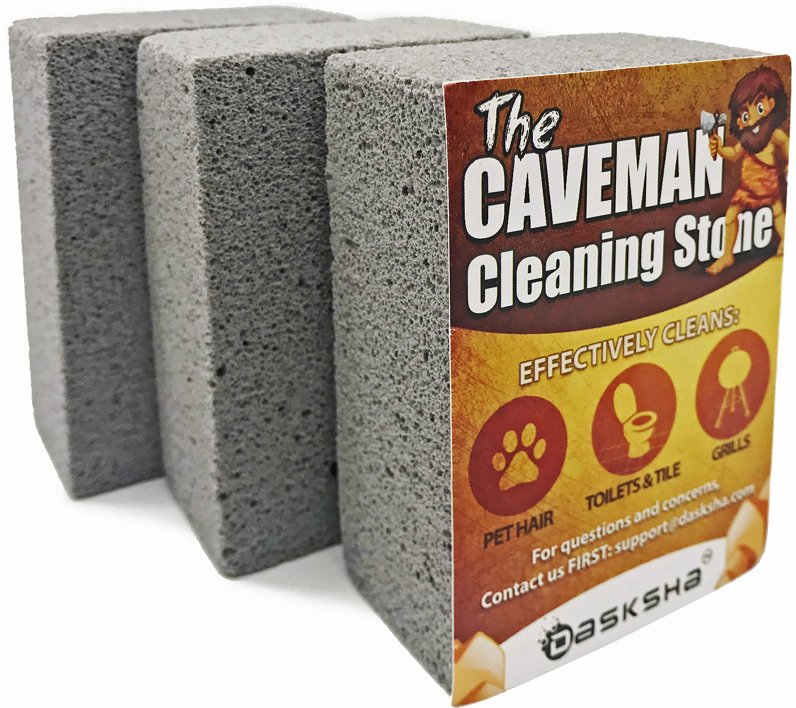 Dasksha 3-Pack Grill Stone Cleaning Block - 4 Inch Pumice Bricks for Cleaning Grease & Rust