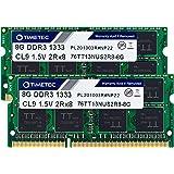 Timetec 16GB KIT(2x8GB) DDR3 1333MHz PC3-10600 Non-ECC Unbuffered 1.5V CL9 2Rx8 Dual Rank 204 Pin SODIMM PC Laptop Notebook C