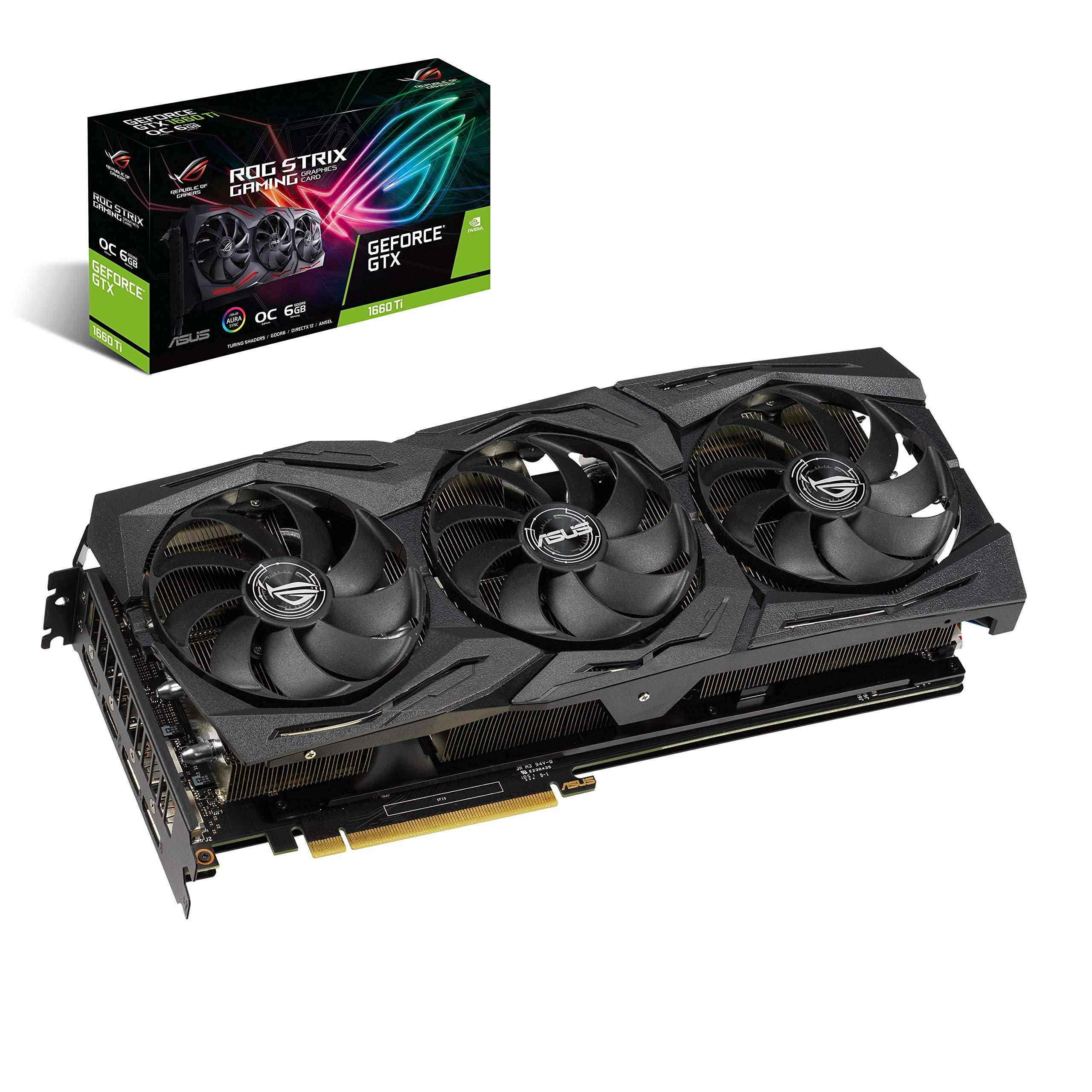ASUS ROG Strix GeForce GTX 1660 Ti 6GB Overclocked Edition VR Ready HDMI 2.0 DP 1.4 Auto-extreme Graphics card (STRIX-GTX1660TI-O6G-GAMING) by ASUS